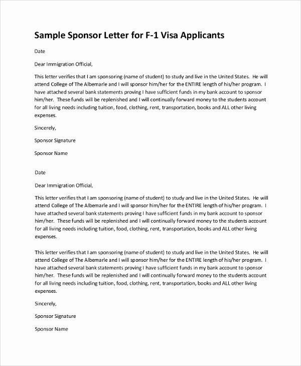 Sponsor Letter for Student Elegant 12 Sample Visa Sponsorship Letters Pdf Doc
