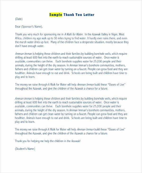 Sponsor Letter for Student Inspirational 29 Sample Sponsor Thank You Letters Pdf Word