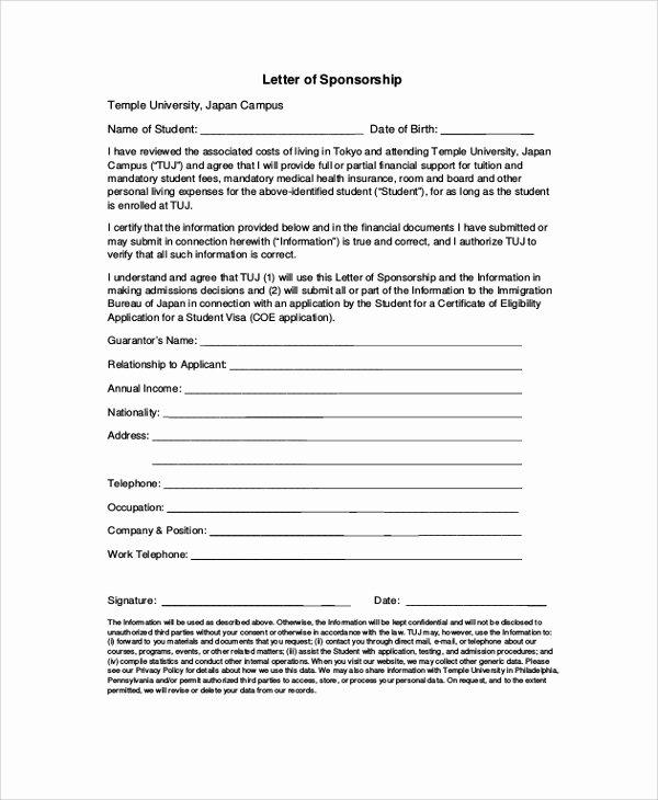 Sponsor Letter for Student Lovely 12 Sample Visa Sponsorship Letters Pdf Doc