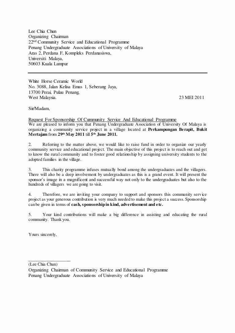 Sponsor Letter for Student Luxury Sample Of A Letter Of Request for Sponsorship