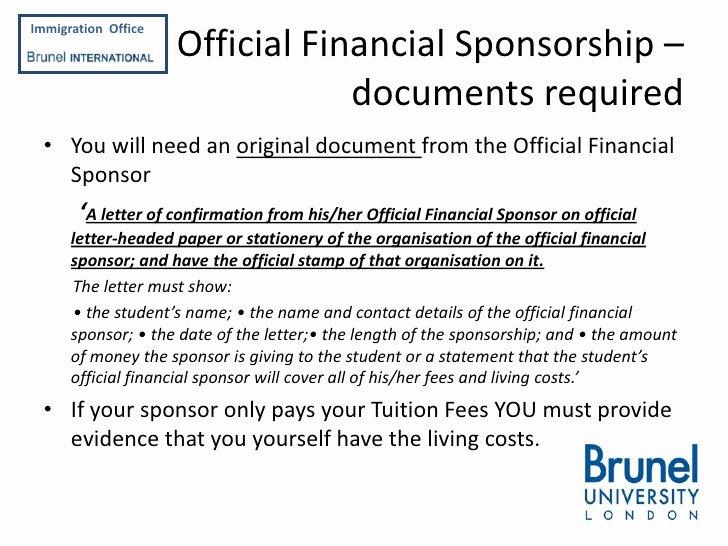 Sponsor Letter for Student Unique Applying for A Tier 4 Student Visa