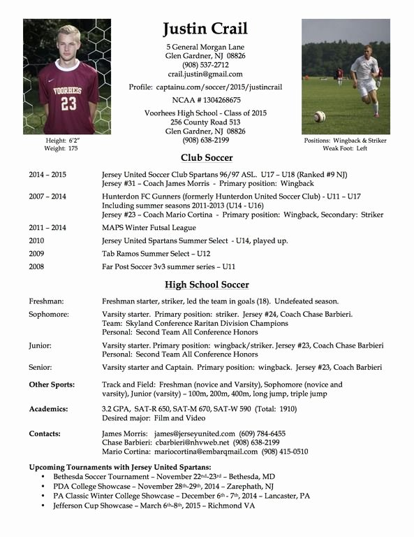 Sports Resume for Coaching Beautiful College soccer Player Resume soccer