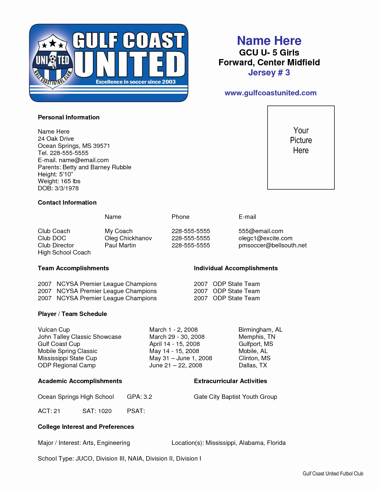 Sports Resume for Coaching Beautiful Sample soccer Resume Places to Visit