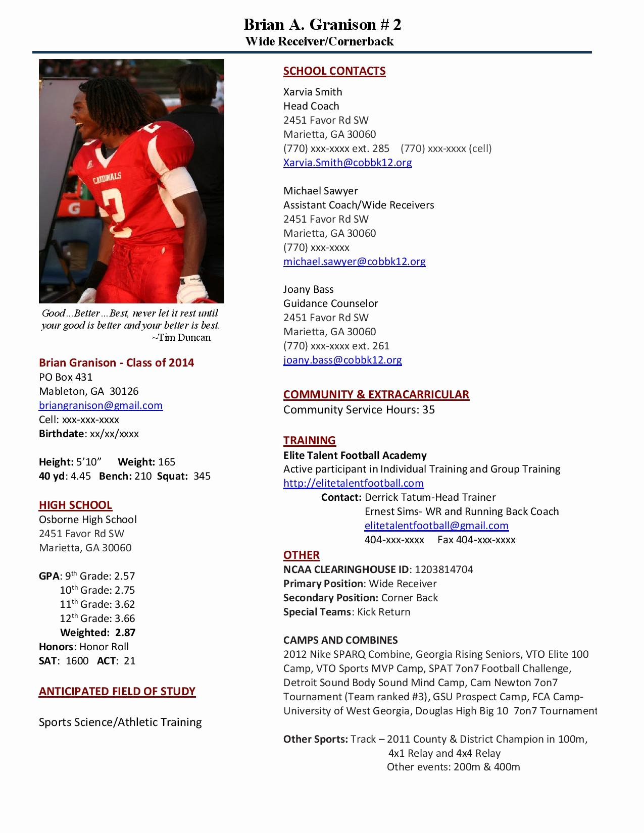 Sports Resume for Coaching Beautiful why Should I Recruit You – Play Book athlete