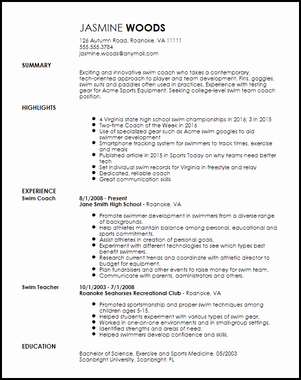Sports Resume for Coaching Fresh Free Contemporary Sports Coach Resume Template