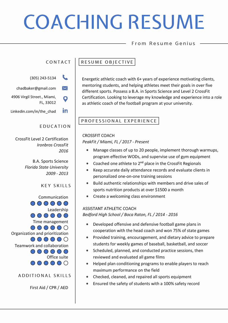 Sports Resume for Coaching Inspirational Coaching Resume Sample & Writing Tips