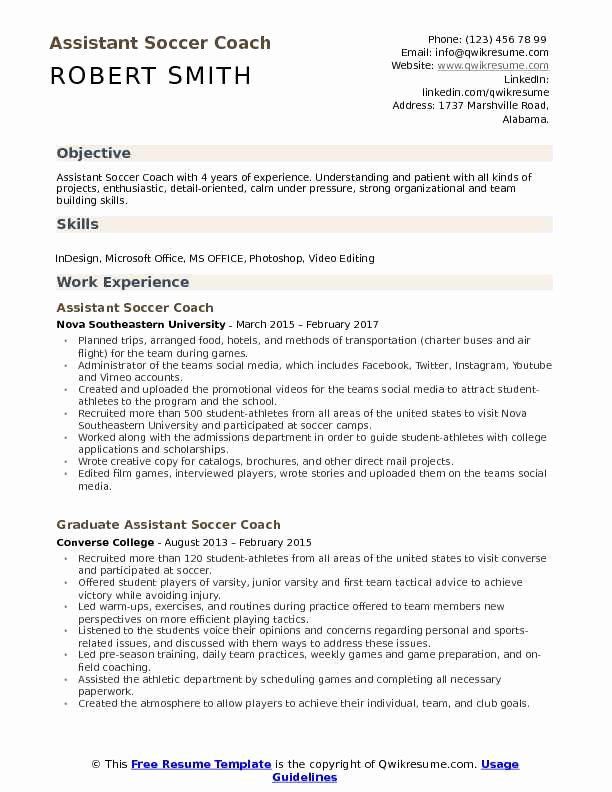 Sports Resume for Coaching Inspirational soccer Coach Resume
