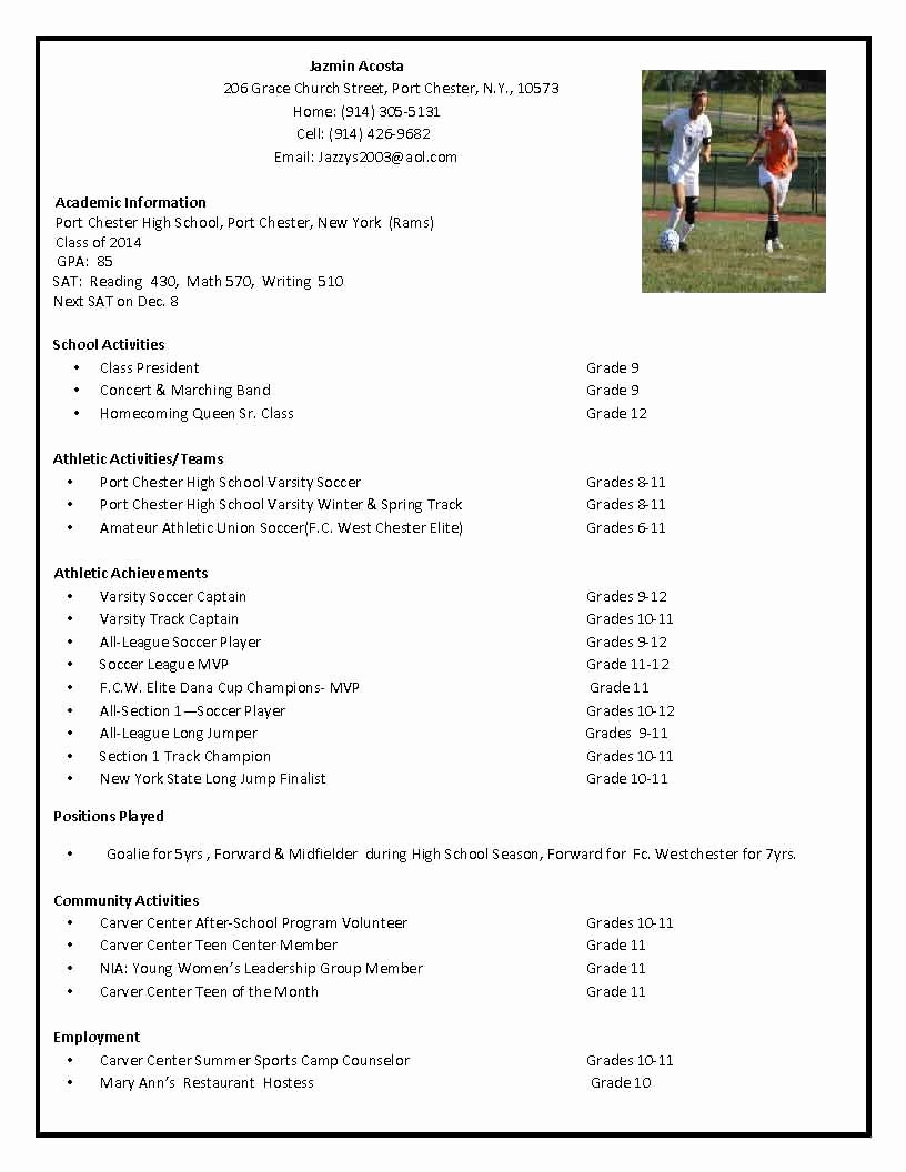 Sports Resume for Coaching Inspirational soccer Recruiting Resume Google Search Tillie