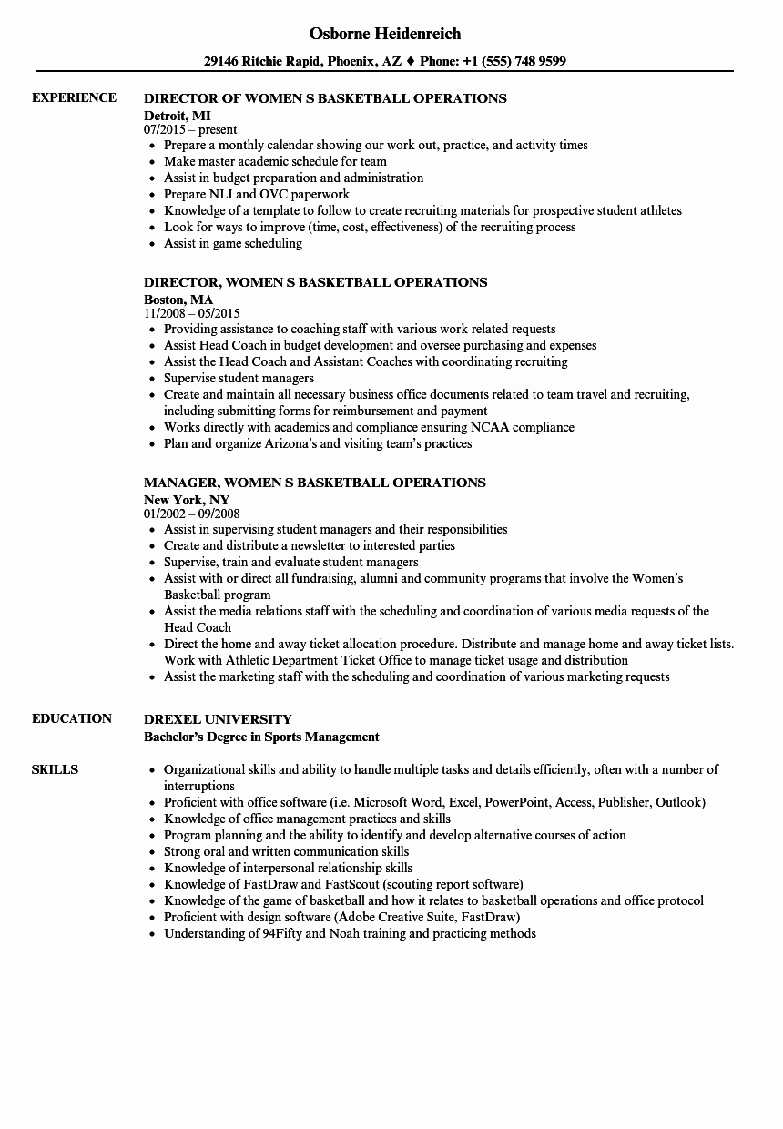 Sports Resume for Coaching Lovely Basketball Operations Resume Samples