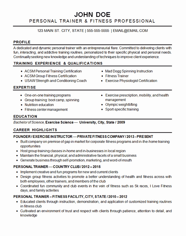 Sports Resume for Coaching Lovely Sports Fitness Resume Example Exercise Instructor & Trainer