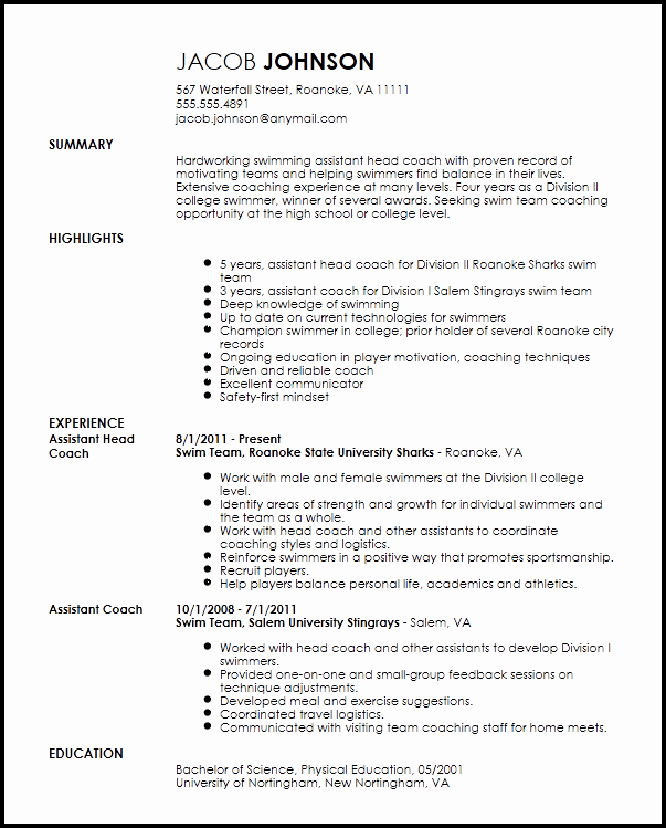 Sports Resume for Coaching Luxury Free Professional Sports Coach Resume Template