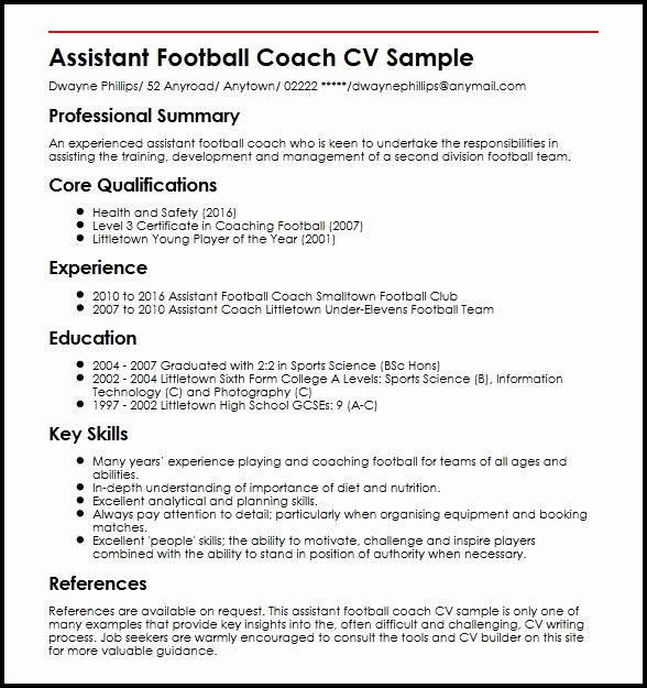 Sports Resume for Coaching New assistant Football Coach Cv Sample Myperfectcv