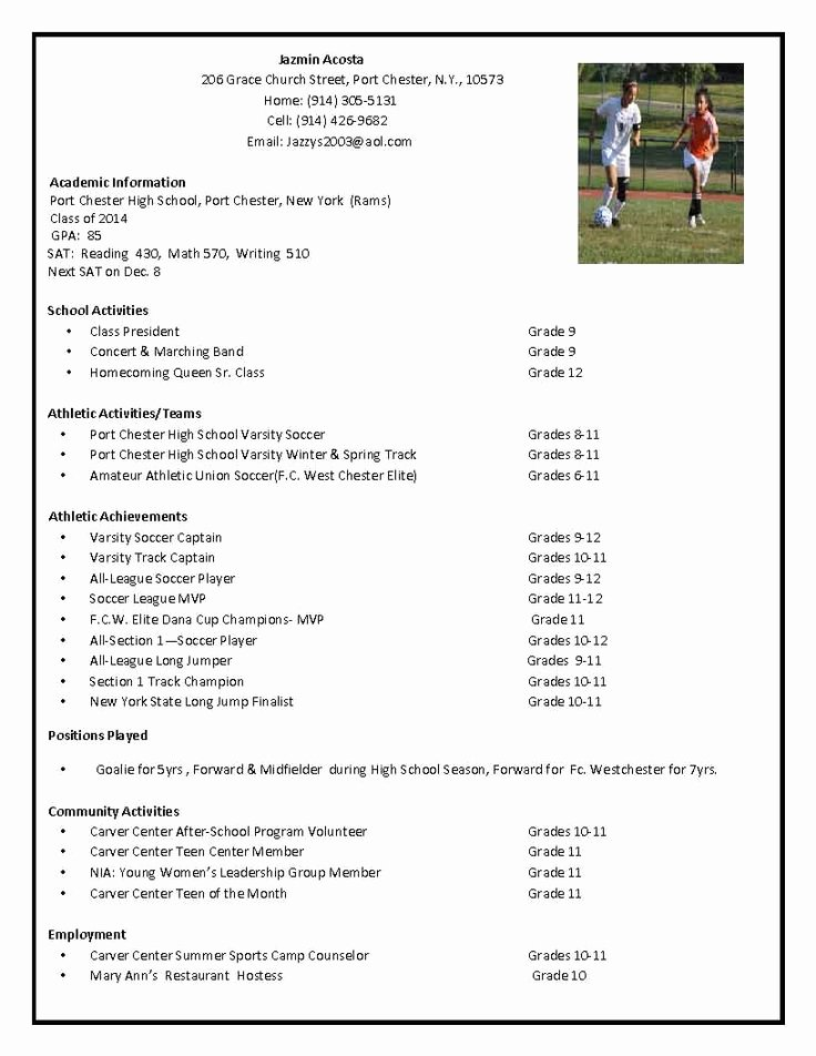 Sports Resume for Coaching New soccer Recruiting Resume Google Search Tillie