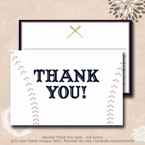 Sports Thank You Cards Awesome Printable Baseball theme Thank You Cards Personalized