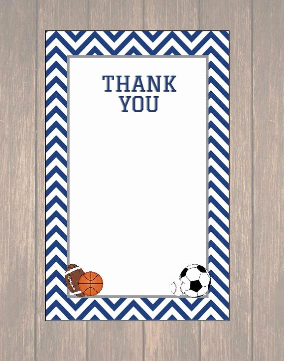 Sports Thank You Cards Awesome Sports Thank You Notes Birthday Thank You Cards by