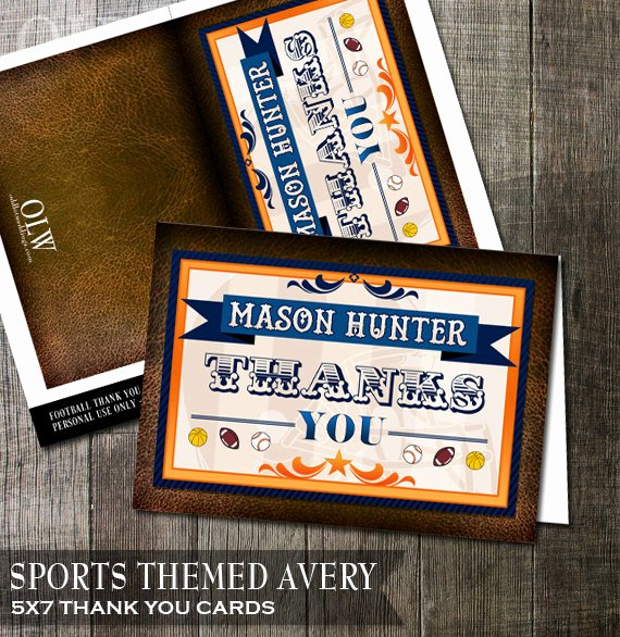 Sports Thank You Cards Awesome Sports theme Thank You Card Football Thank You Baseball