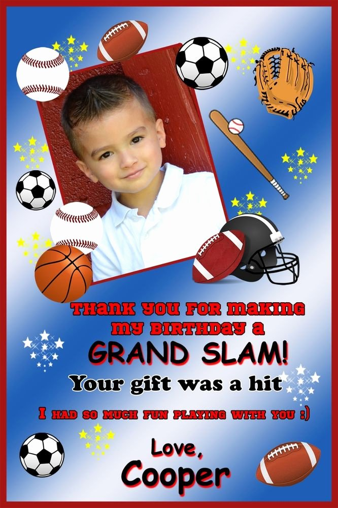 Sports Thank You Cards Best Of Sports Thank You Card Football Baseball Sports Party