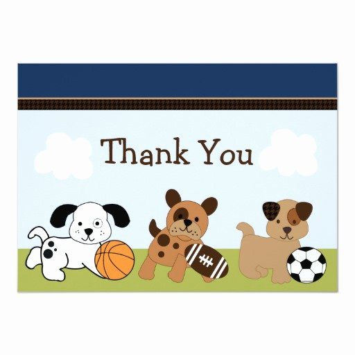 Sports Thank You Cards Elegant Bow Wow Puppy Dog & Sports Thank You Card