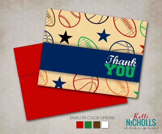 Sports Thank You Cards Elegant Vintage Sports Thank You Cards Custom by Kellinichollsdesigns
