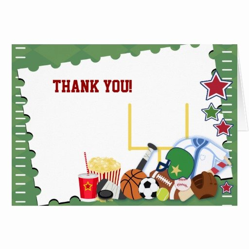Sports Thank You Cards Fresh Football Sports Fan All Star Folded Thank You Note