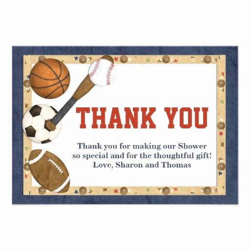 "Sports Thank You Cards Fresh Sports All Star Thank You Card 3 5"" X 5"" Invitation Card"