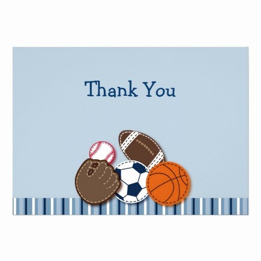 "Sports Thank You Cards Inspirational All Star Mvp Sports Ball Flat Thank You Note Cards 5"" X 7"