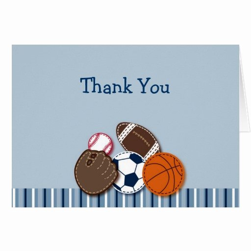 Sports Thank You Cards Inspirational All Star Mvp Sports Balls Thank You Note Cards