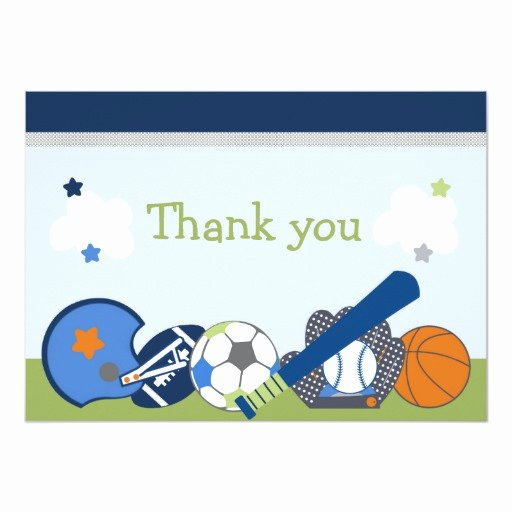 Sports Thank You Cards Inspirational Lil Little Sports Player Shower Thank You Card