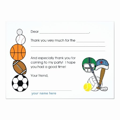 Sports Thank You Cards Inspirational Sports Balls Birthday Party Thank You Note Card