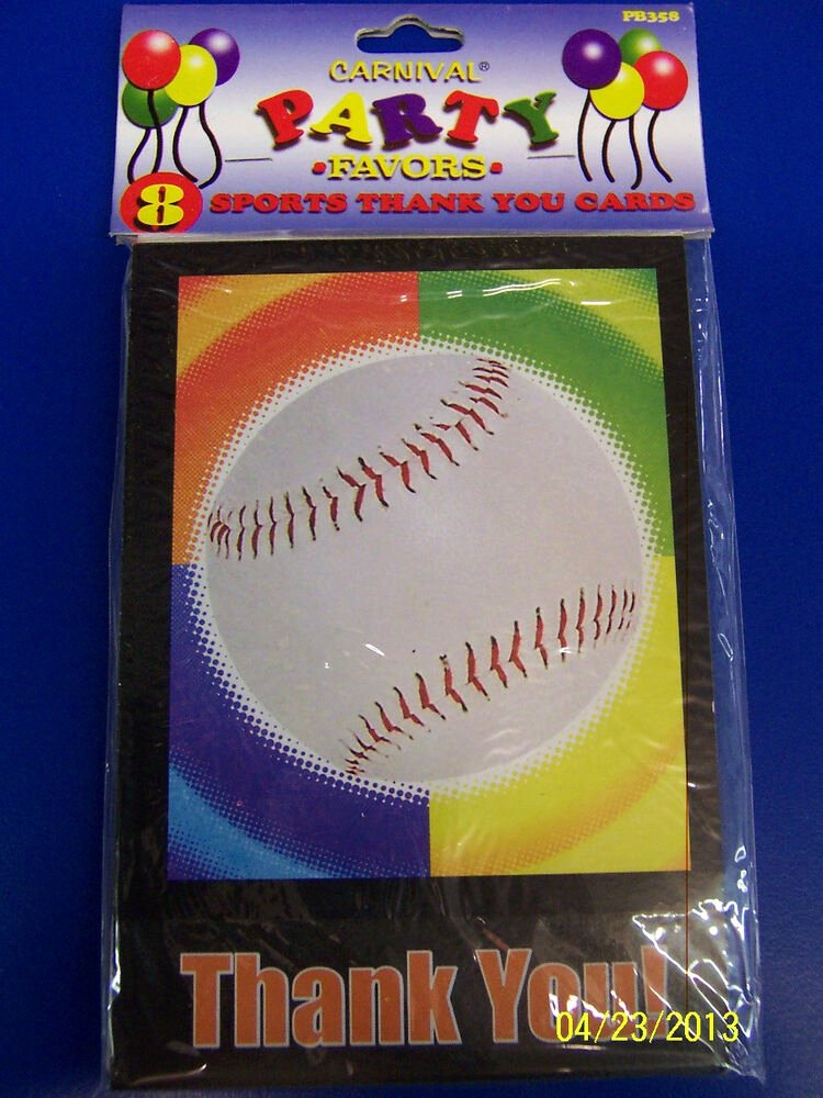 Sports Thank You Cards Lovely Baseball Party Ball Sports Banquet Birthday Thank You