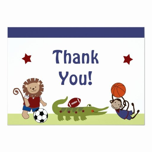 Sports Thank You Cards Lovely Safari Team Animals Sports Baby Shower Thank You Card
