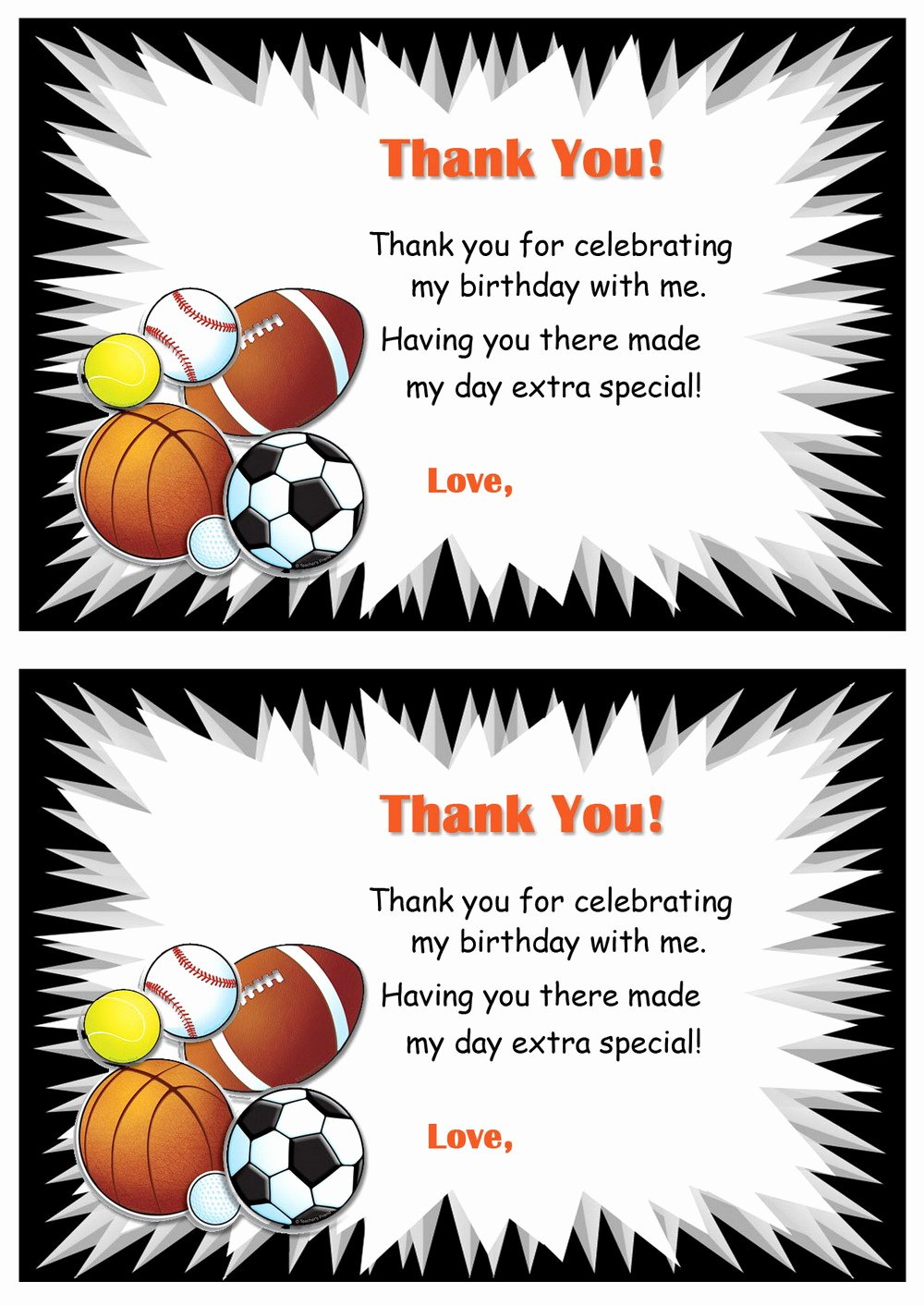 Sports Thank You Cards Lovely Sports Thank You Cards