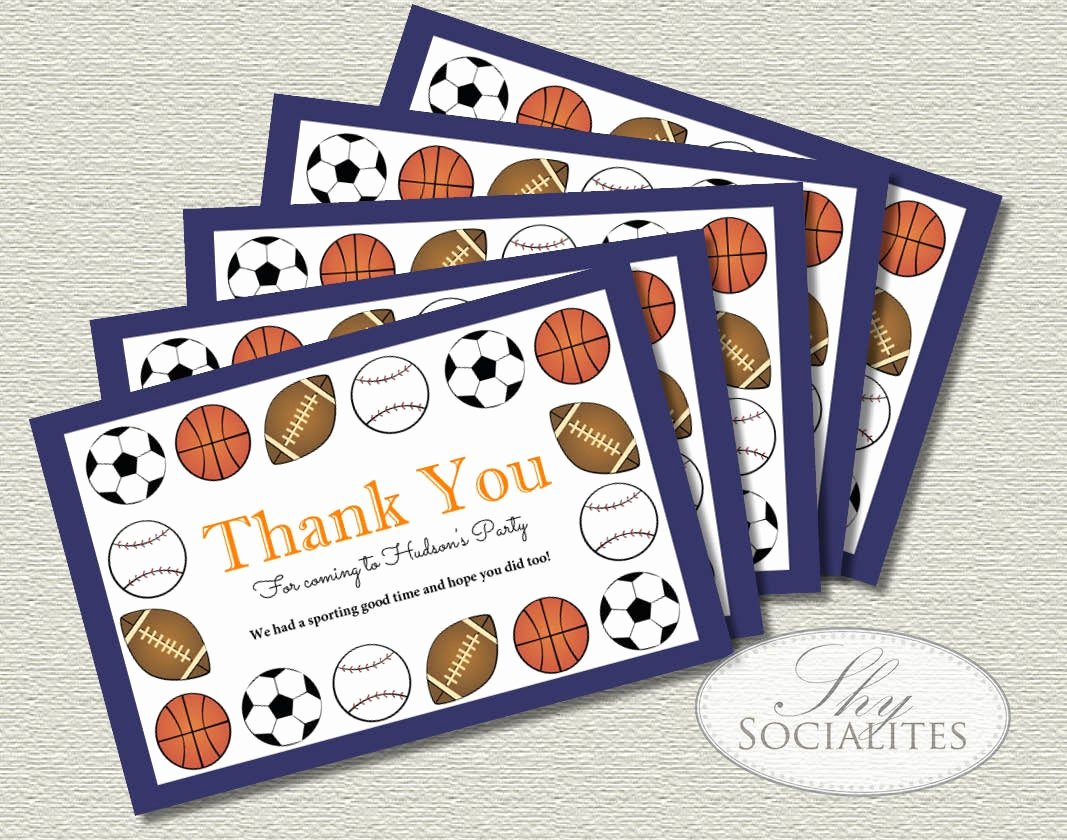 Sports Thank You Cards New Blue Stripe Sports Thank You Card Baseball Football