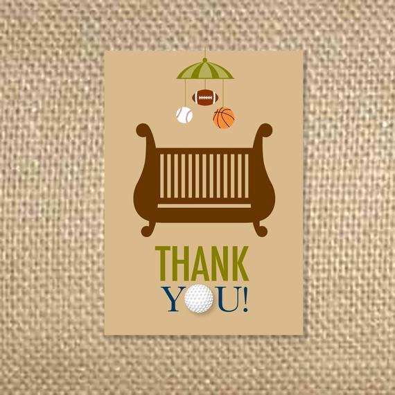 Sports Thank You Cards New Sports Baby Shower Thank You Cards by Uluckygirl On Etsy