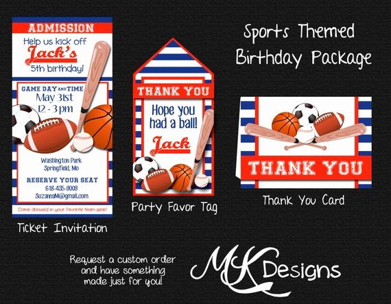 Sports Thank You Cards New Sports themed Birthday Package Invite Favor Tags and Thank