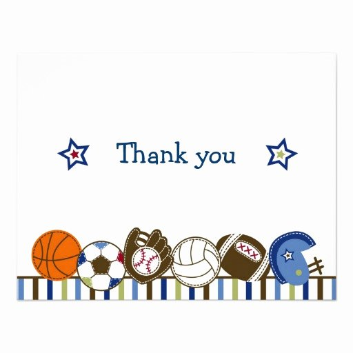 "Sports Thank You Cards Unique Play Ball Sports Boys Thank You Note Cards 4 25"" X 5 5"