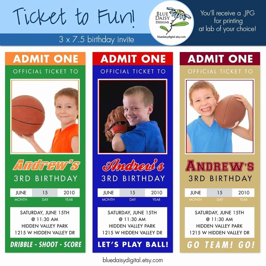 Sports Ticket Invitation Template Free Awesome Sports Ticket Birthday Invitation Template Free Super