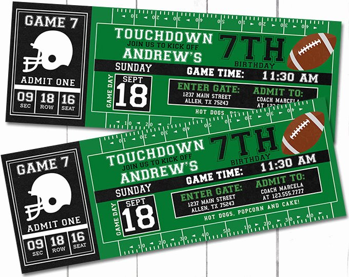 Sports Ticket Invitation Template Free Beautiful Football Party Invitations Sports themed Parties