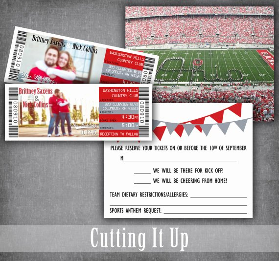 Sports Ticket Invitation Template Free Beautiful Football Wedding Invitations Football Ticket Invitation Sport Wedding Invitations Ticket Save