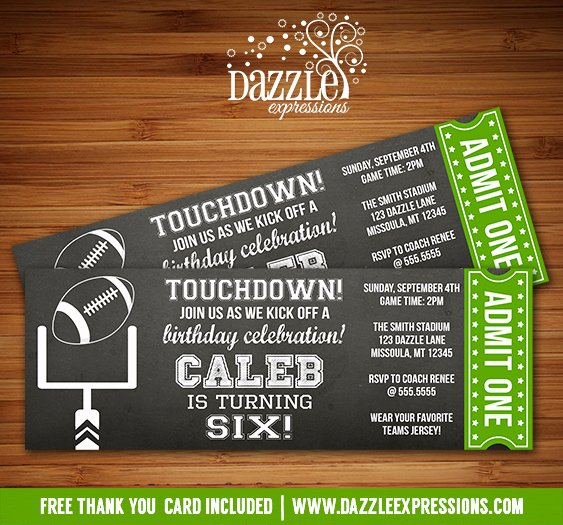 Sports Ticket Invitation Template Free Best Of Printable Chalkboard Football Ticket Birthday Invitation Super Bowl Ftbol Kids Sports Party