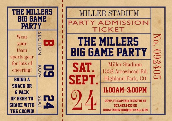 Sports Ticket Invitation Template Free Best Of Sports Ticket Invitation Templates