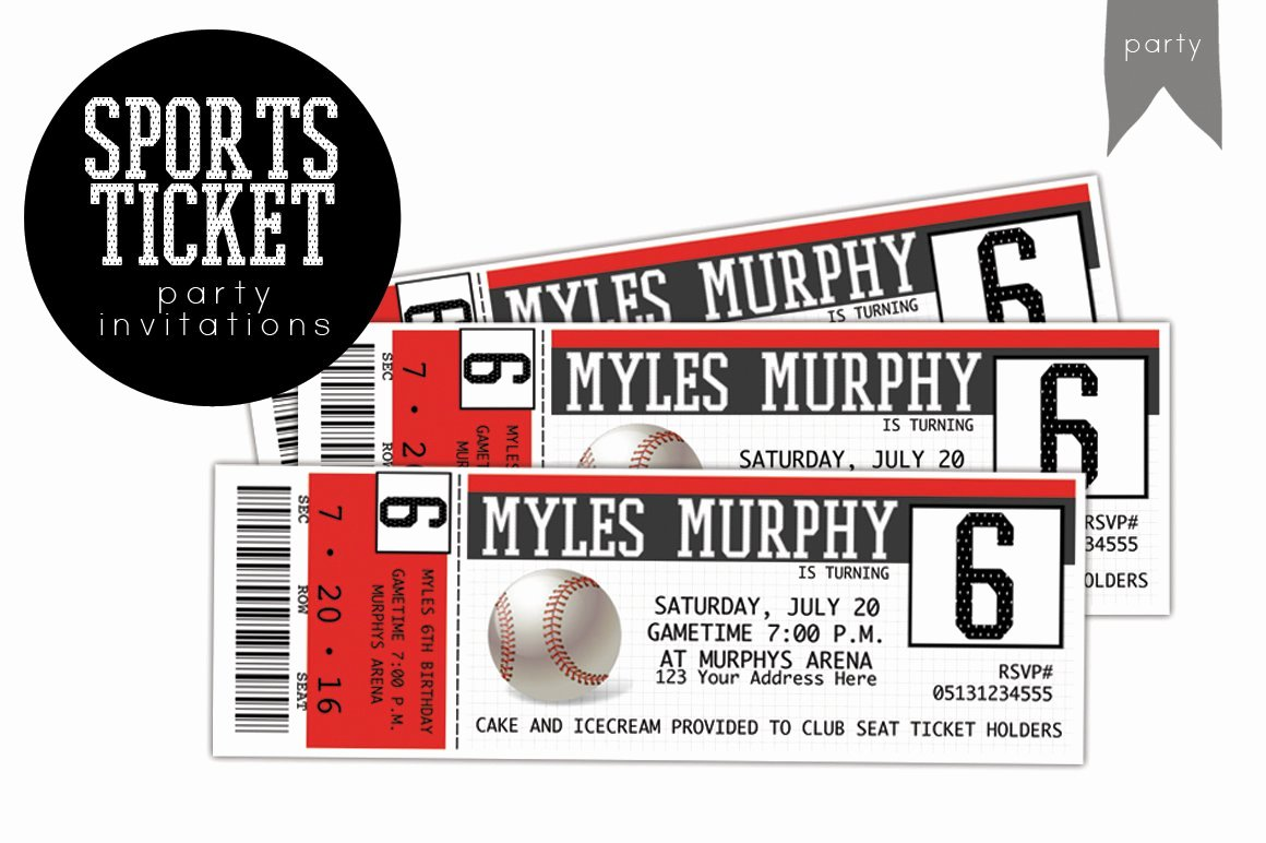 Sports Ticket Invitation Template Free Elegant Birthday