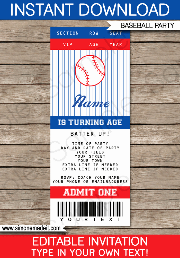 Sports Ticket Invitation Template Free Inspirational Baseball Ticket Invitation Template