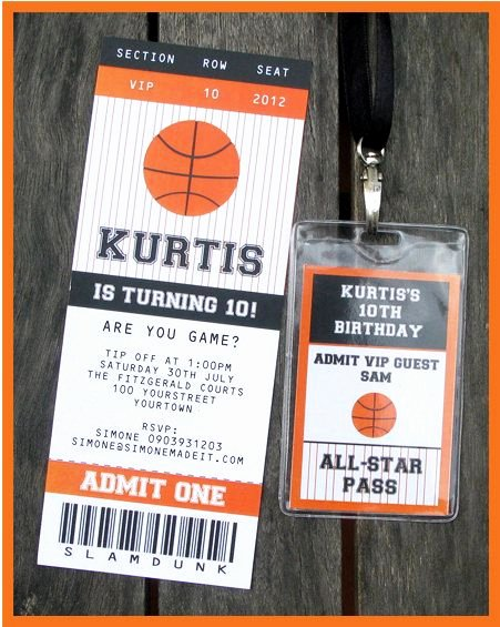 Sports Ticket Invitation Template Free Lovely Basketball Ticket Invitation & Printable Party Collection Party Ideas