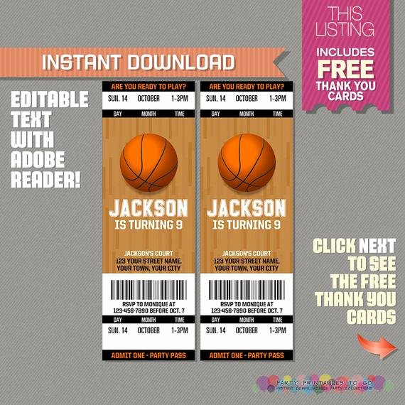 Sports Ticket Invitation Template Free Lovely Basketball Ticket Invitation with Free Thank You Card