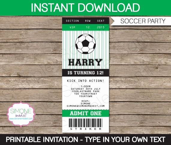 Sports Ticket Invitation Template Free Lovely soccer Ticket Invitation Template Birthday Party Instant Download with Editable Text You