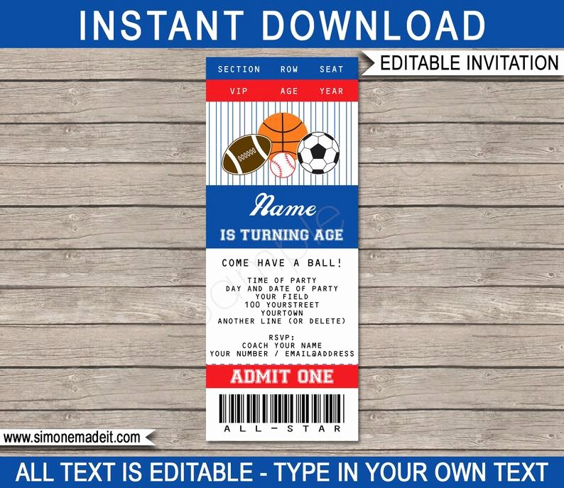 Sports Ticket Invitation Template Free Unique Sports Ticket Invitation Template All Star Birthday Party
