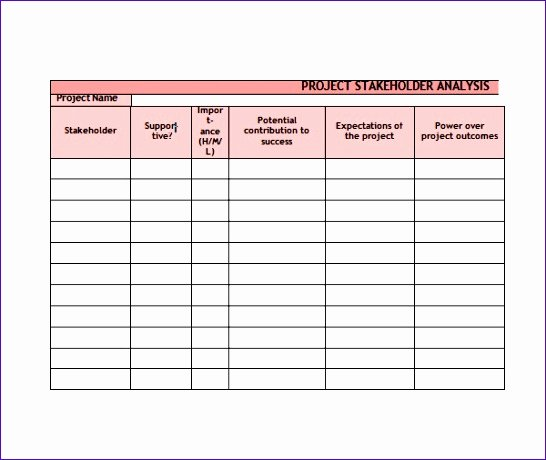 Stakeholder Analysis Template Excel Elegant 10 Stakeholder Analysis Template Excel Exceltemplates Exceltemplates