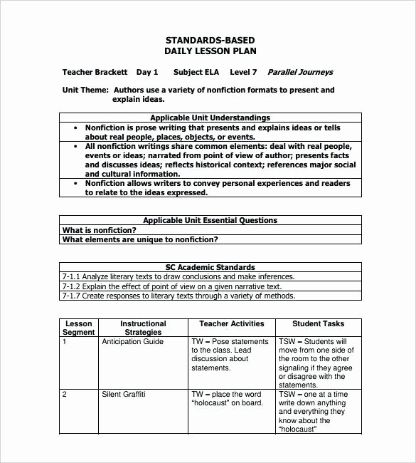 Standard Based Lesson Plan Template Fresh Free Printable Lesson Plan Template Pdf