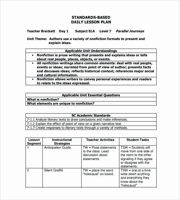 Standard Based Lesson Plan Template Fresh Free Printable Lesson Plan Template Pdf